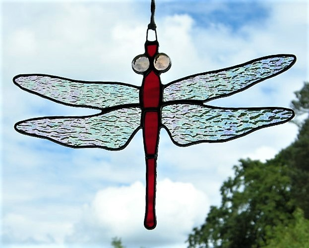 Stained glass Dragonfly iridescent wings, rich red body and light peach eyes