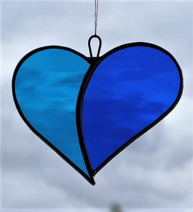 "Stained Glass suncatcher Love Heart ""When Two Hearts become One"" in blues"