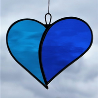 "Stained Glass Love Heart ""When Two Hearts become One"" in blues"