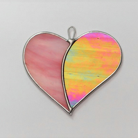 "Stained Glass suncatcher Love Heart ""When Two Hearts become One"""