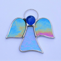 Stained glass (Angel) abstract in blue and purple translucent iridescent glass