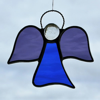 Stained glass suncatcher (Angel) abstract in cobalt blue and grape waterglass