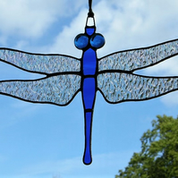 Stained glass suncatcher Dragonfly iridescent wings,cobalt blue body & blue eyes