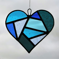 Stained Glass suncatcher Love Heart in a mixture of blues and textured glass