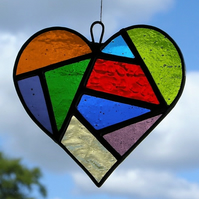 Stained Glass suncatcher Love Heart in a mixture of colours and textured glass