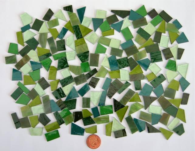Stained Glass pieces (shades of greens and textured glass)