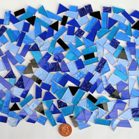 Stained Glass pieces (shades of blues and textured glass)