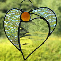 Stained glass suncatcher (Angel Heart) in waterglass & iridescent textured glass