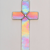 Stained Glass (Cross) in pink and white iridescent glass