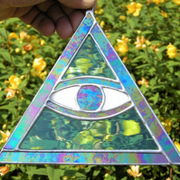 "Stained Glass suncatcher ornament ""The All Seeing Eye"""