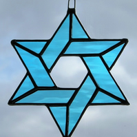 Stained Glass suncatcher (Star of David) in Sky Blue rippling waterglass