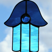 Stained Glass suncatcher (Hamsa) Blues in rippling waterglass