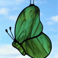 Stained Glass suncatcher Butterfly in green and white streaky glass