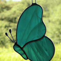 Stained Glass suncatcher Butterfly in teal green and white streaky glass