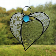 Stained glass (Angel Heart) in two different textured clear glass