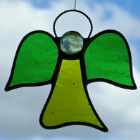 Stained glass (Angel) abstract in green and lime moss green glass