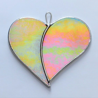 "Stained Glass suncatcher Love Heart ""When Two Hearts become One"" in yellows"