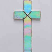 Stained Glass (Cross) in aqua and white iridescent glass