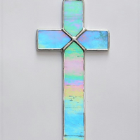 Stained Glass (Cross) in aqua and white opalescent iridescent glass