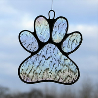 Paw Print in clear textured iridescent glass