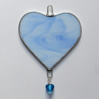 Stained Glass suncatcher (Love Heart) blue and white glass with blue heart bead