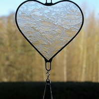 Stained Glass suncatcher (Love Heart) clear frosty texture glass with drop bead