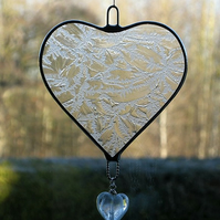 Stained Glass suncatcher (Love Heart) clear frosty texture glass with heart bead