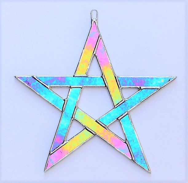 Stained Glass suncatcher Pentagram 5 pointed star green iridescent glass