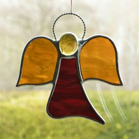 stained glass suncatcher Angel abstract in red and amber waterglass