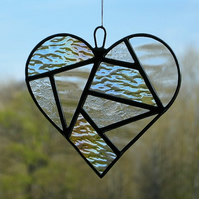 Abstract Stained Glass suncatcher (Love Heart) in three clear textured glass