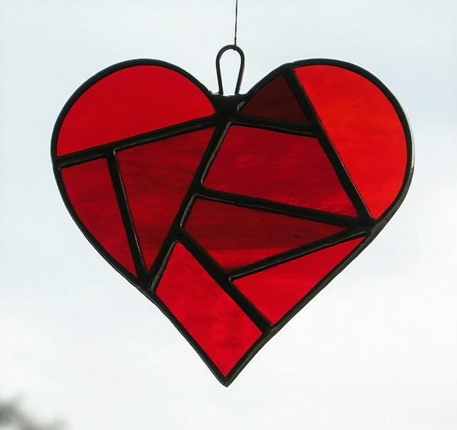 Stained Glass suncatcher Love Heart in a selection of reds textured glass