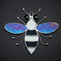Stained glass Bee iridescent wings, black & white body and black eyes