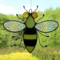 Stained glass Bee iridescent wings, black & yellow body and orange amber eyes