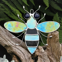 Stained glass Bee iridescent wings, black & turquoise body and blue eyes
