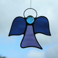 Stained glass suncatcher (Angel) abstract in navy blue and grape waterglass
