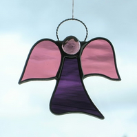 Stained glass suncatcher (Angel) abstract in rose and two purples waterglass