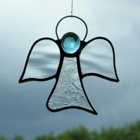 Stained glass suncatcher (Angel) abstract in two different clear textured glass
