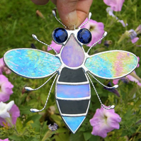 Stained glass Bee iridescent wings, black & blue body and blue eyes