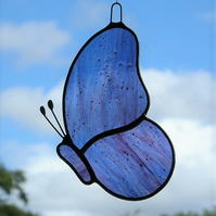 Stained Glass suncatcher Butterfly in blue and purple streaky glass