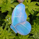 Stained Glass Butterfly with iridescent turquoise and white glass