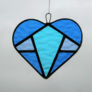 Stained Glass suncatcher (Love Heart) in three different tones of blue textured