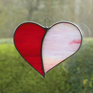 "Stained Glass Love Heart ""When Two Hearts become One"" in iridescent glass"