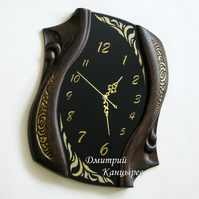 Wall clock black from glass and wood elite stylish fashionable