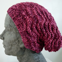 Knitted slouchy wool and silk hat with matching bobble