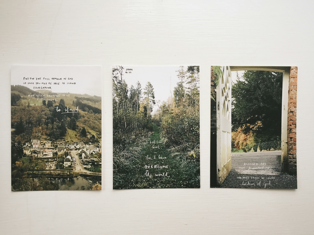 christian scripture bible verses landscape picture postcard prints
