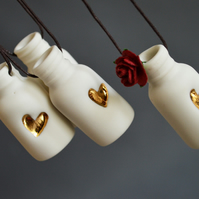 Hanging Mini Bottle with Embossed Gold Heart and Paper Red Rose (Wire stem)