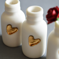 Mini Bottle with Embossed Gold Heart and Paper Red Rose(Wire stem)