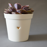 (Small Size) Ceramic Planter Pot embossed with Gold Heart.