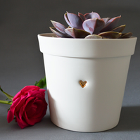 (Large Size) Ceramic Planter Pot embossed with Gold Heart.