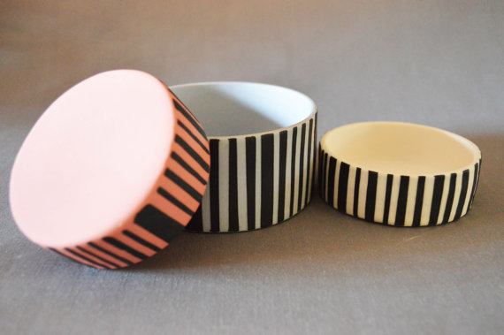 Set of 3 Handmade Dishes- Porcelain Dishes (1 Medium & 2 Small) Black Stripes